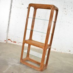 Organic Modern Pencil Reed Rattan Etagere with Glass Shelves Style of Gabriella Crespi