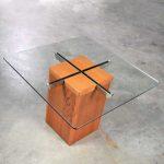 Mid Century Scandinavian Modern Square Teak Chrome and Glass Side Table