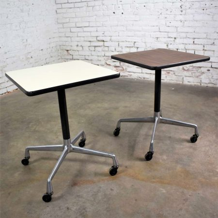 Vintage Eames for Herman Miller Square Rolling Side Table Universal Base 2 Available