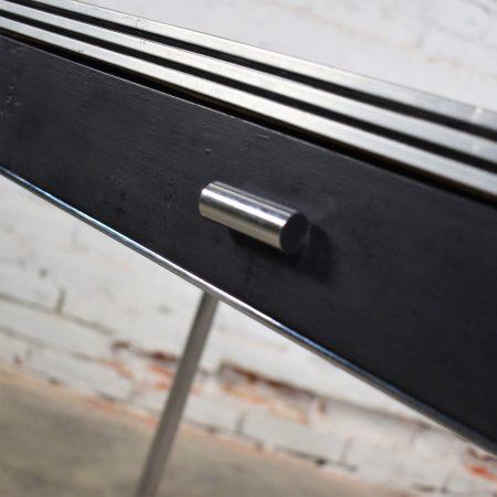 Art Deco Machine Age International Style Chrome & Black Console Table Gilbert Rohde Attribution