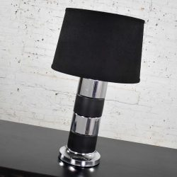 Art Deco Style Chrome and Black Horizontal Stripe Cylindrical Table Lamp Black Shade