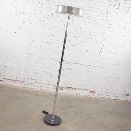 Vintage Modern Chrome Triple Shaft Floor Lamp with Perforated Metal Ring & Glass Disc