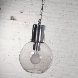 Mid Century Modern Chrome & Smoked Glass Open Globe Pendant Light Chrome Chain