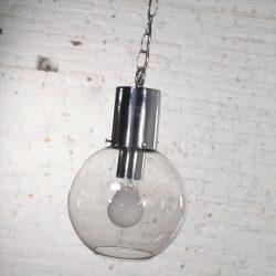 Mid Century Modern Chrome & Smoked Glass Open Globe Pendant Light Chrome Chain