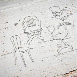 Large Wire Wall Sculpture Quartet Evolution of the Office Chair