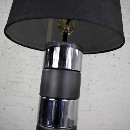 Art Deco Style Chrome and Black Horizontal Stripe Cylindrical Table Lamp Black Shade