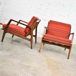 Scandinavian Modern Ib Kofod-Larsen Lounge Chairs for Selig in Red Stripe Fabric a Pair
