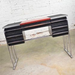 Art Deco Machine Age International Style Chrome & Black Desk Gilbert Rohde Attribution