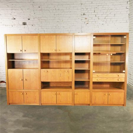 Vintage Modern Oak 4 Section Modular Wall Unit from the Lord Series by Kämper Intl