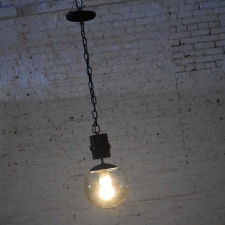Mid Century Modern NOS Wood & Smoked Glass Globe Pendant Light Black Chain