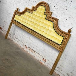 Hollywood Regency King Headboard of Gilded Cast Aluminum & Tufted Yellow Velvet by Kessler