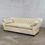 Vintage Art Deco Hollywood Regency Sofa with Tufted Back and Concave Pillowed Arms