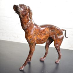 Vintage Greyhound or Whippet Bronze Sculpture Medium Size 14 Inch