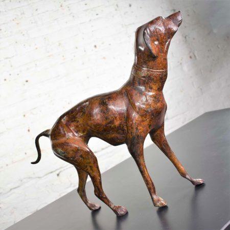 Vintage Greyhound or Whippet Bronze Sculpture Medium Size 14 Inch