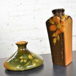Petite Antique Floral Vases 1 Rookwood Pottery Olga Geneva Reed & 1 J.B. Owens Pottery