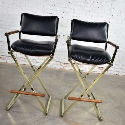 Vintage Pair Directors Chair Style Bar Stools Brass Plate Oak and Black Vinyl