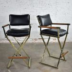 Vintage Pair Directors Chair Style Bar Stools Brass Plate Oak and Black Vinyl
