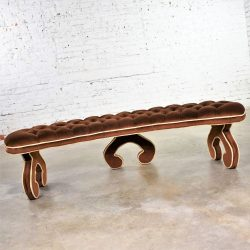 Hollywood Regency Curved Bench Fully Upholstered & Tufted in Cocoa Brown Velvet