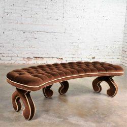 Hollywood Regency Curved Bench Fully Upholstered & Tufted in Cocoa Brown Velvet
