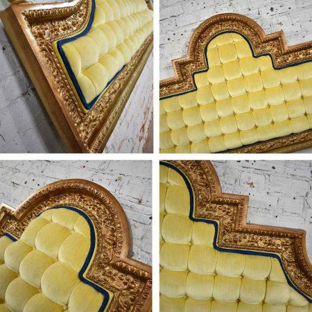 Hollywood Regency King Headboard of Gilded Cast Aluminum & Tufted Yellow Velvet by Kessler