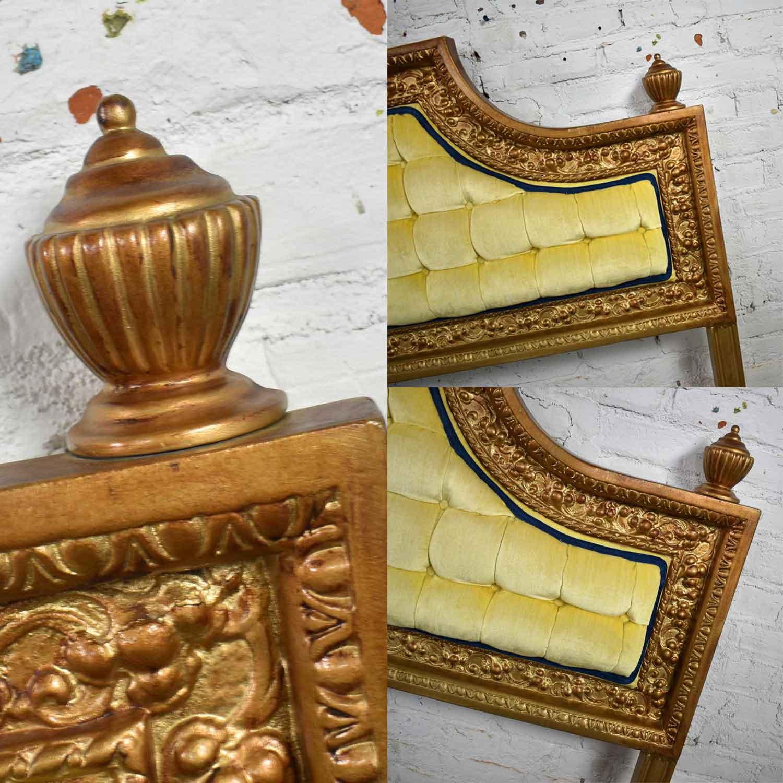 Hollywood Regency King Headboard Of Gilded Cast Aluminum Tufted Yellow Velvet By Kessler Warehouse 414