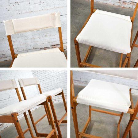 Vintage Pair Scandinavian Modern Sling Counter Height Bar Stools White