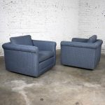 Pair of Vintage Rolled Arm Tuxedo Style Cube Club Chairs Art Deco Hollywood Regency Style