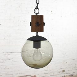 Mid Century Modern NOS Wood & Smoked Glass Globe Pendant Light Black Chain