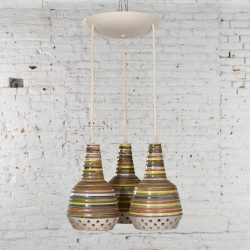 MCM Italian Ceramic Triple Pendant Ceiling Light Attributed to Alvino Bagni for Raymor