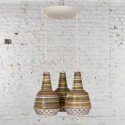 MCM Italian Ceramic Triple Pendant Ceiling Light Attributed to Alvino Bagni for Raymor