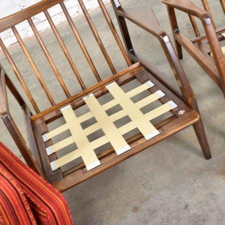 Scandinavian Modern Ib Kofod-Larsen Lounge Chairs for Selig in Red Stripe Fabric a Pair