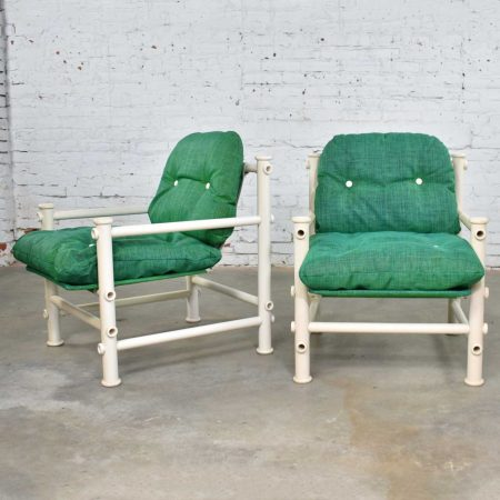 Pair of Landes PVC Outdoor Idyllwild Lounge Chairs w/ Green Mesh Upholstery by Jerry Johnson