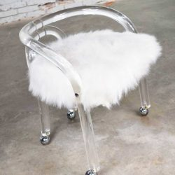 Hollywood Regency Lucite Vanity Stool with White Faux Fur Style of Charles Hollis Jones