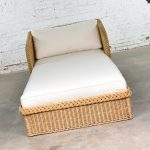 SOLD – Wide Rattan Wicker Chaise by Bielecky Brothers, Inc. with New White Canvas Upholstery