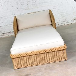 Wide Rattan Wicker Chaise by Bielecky Brothers, Inc. with New White Canvas Upholstery