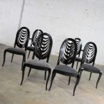 Black Lacquer Oval Drape Back Dining Chairs by Pietro Costantini for Ello Set 6