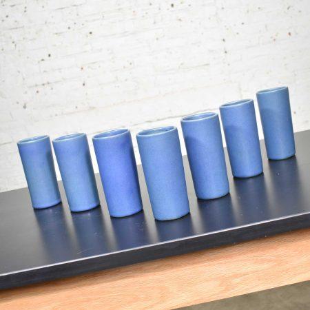 Van Briggle Pottery Dark Blue Cylindrical Tumblers Set of Seven or Vases