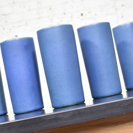 Van Briggle Pottery Dark Blue Cylindrical Tumblers Set of Seven or Vases