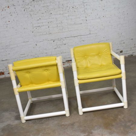 Pair MCM Outdoor PVC Side Chairs Yellow Vinyl Upholstery by Decorion Fun Furnishings .