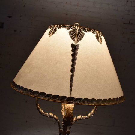 Monumental Neoclassical Style Iron Floor Lamp with Acanthus Leaf Design & Parchment Shade