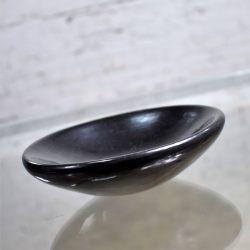 Santa Clara Native American Black Pottery Dish Signed Ethel Gutierrez-Yazza