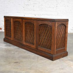 Mid Century Walnut Semi-Distressed Diamond Lattice Credenza Shallow Depth