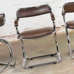Set of 4 Chrome Cantilever Armed Chairs with Brown Faux Leather Style of Gastone Rinaldi