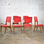 Mid Century Scandinavian Modern Set of Six Teak Dining Chairs with Red Ultrasuede