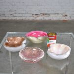 Set 4 Pieces Italian Murano Glass Dishes Attributed to Barbini & Seguso in Avventurnia Bullicante & Foglia D'Oro