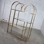 Vintage Modern Double Arched Etagere Display Shelves Brass Plated and Glass