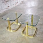 Modern Pair of End Tables Brass Plate and Glass Attributed to Leon Rosen for The Pace Collection