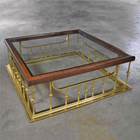 Brass Plated Glass Wood Fireplace Fender Style Large Square Coffee Table Erwin Lambeth Attr.