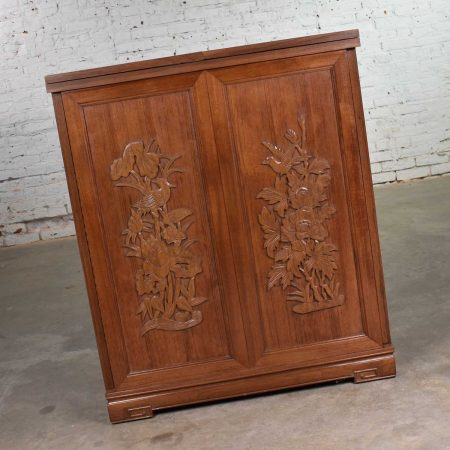 Asian Style Expanding Fold Out Dry Bar in a Box with Applied Carved Birds and Flowers