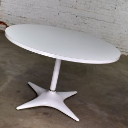 MCM Brody Chicago Round Pedestal Dining Table Enameled Star Base & Laminate Top White